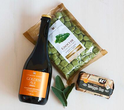 Gnocchi di spinaci con birra, taleggio e salvia