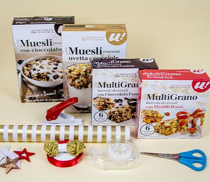Buste regalo con scatole di cereali