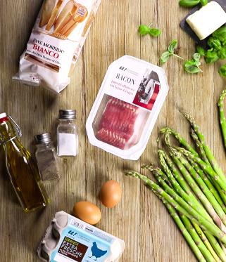 Terrina di asparagi, bacon e uova
